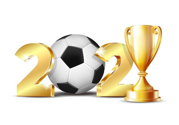 O ano novo numera 2021 com uma bola de futebol isolada no fundo branco. padrão de design criativo para cartão, banner, cartaz, folheto, convite para festa ou calendário. ilustração vetorial