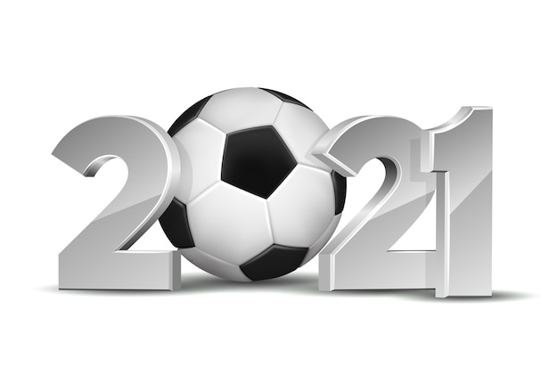 O ano novo numera 2021 com uma bola de futebol isolada no fundo branco.
