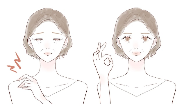 O antes e o depois de uma mulher de meia-idade sofrendo de ombros rígidos. sobre um fundo branco.