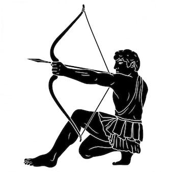 O antigo herói grego hércules atira com um arco em um alvo