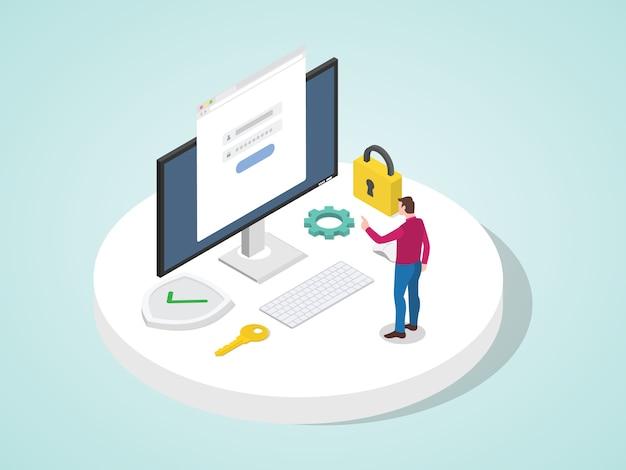 O aplicativo de acesso do homem efetua login com a senha no computador para proteger o sistema de informações pessoais. conta segurança pessoal conceito moderno estilo cartoon plana.