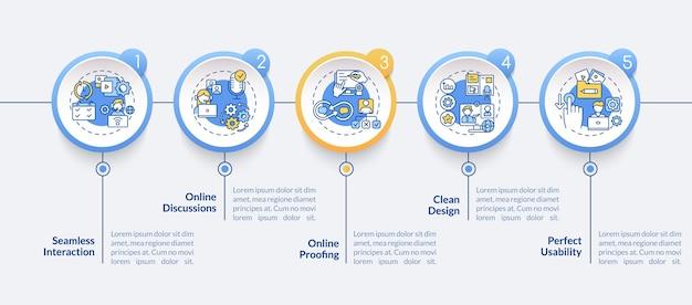 O aplicativo de telecomutação apresenta modelo de infográfico de vetor