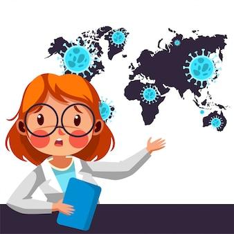 O apresentador de notícias fornece informações sobre a covid19 em todo o mundo
