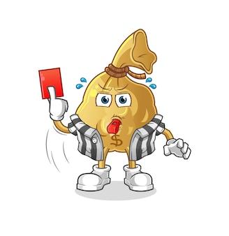 O árbitro da bolsa de dinheiro com mascote do personagem com cartão vermelho