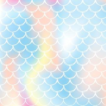 O arco-íris dimensiona o fundo com o padrão de princesa sereia kawaii.