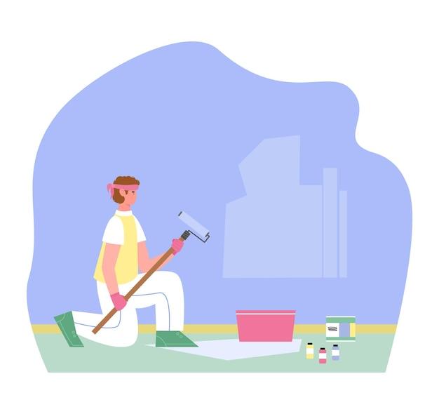 O artesão, pintor de paredes ou faz-tudo, está pintando a parede na cor azul