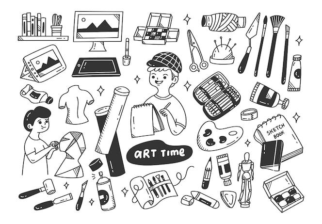O artista e o doodle dos equipamentos