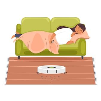 O aspirador de pó do robô para dormir da menina funciona