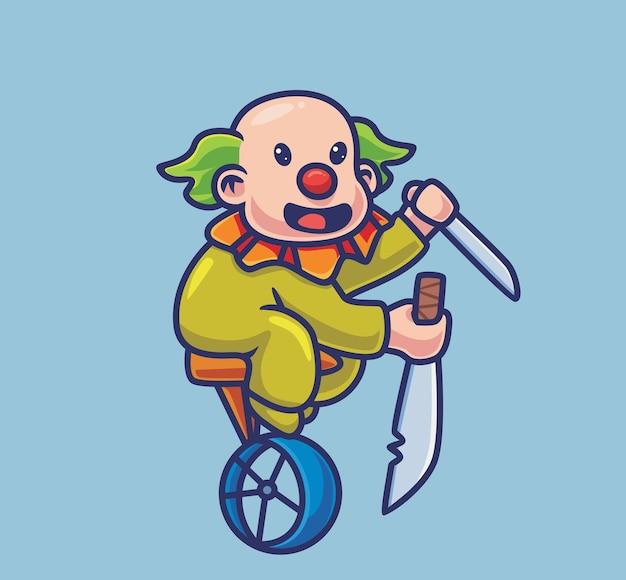 O assassino do palhaço bonito traz uma espada. ilustração de halloween animal isolada dos desenhos animados. estilo simples adequado para vetor de logotipo premium de design de ícone de etiqueta. personagem mascote