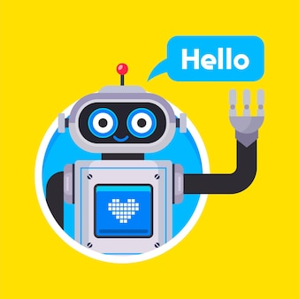 O assistente do robô cumprimenta o usuário. ilustração vetorial plana.