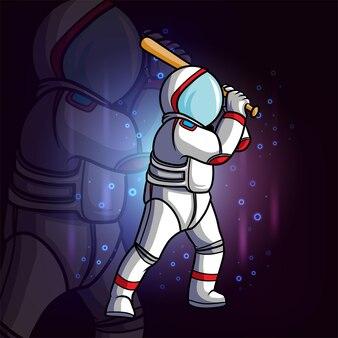 O astronauta balança o taco de beisebol da ilustração