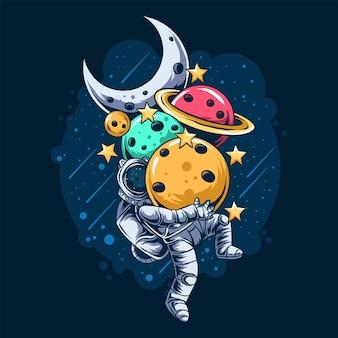 O astronauta carrega muitos planetas no espaço sideral
