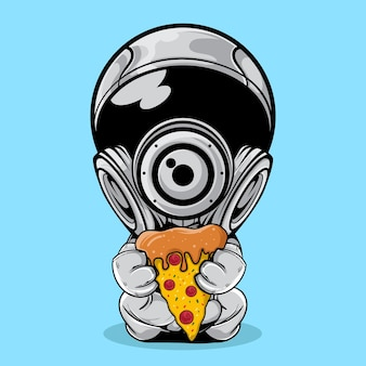 O astronauta com ilustração de uma fatia de pizza