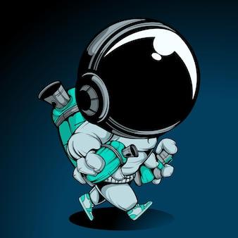 O astronauta com spray pode ilustração