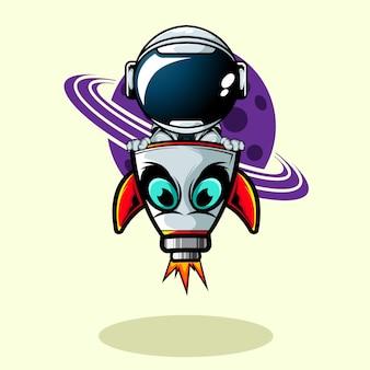 O astronauta dentro do navio de foguete