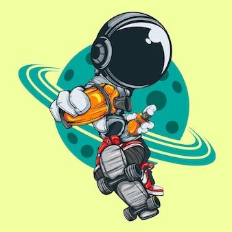 O astronauta em ação com skate e spray pode