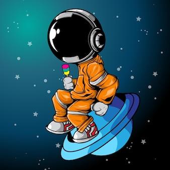 O astronauta relaxa com gelado no universo