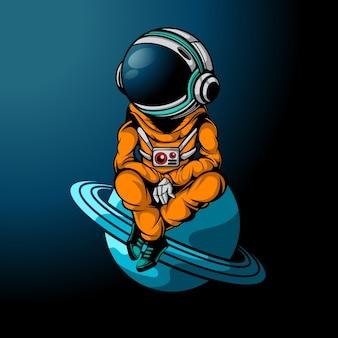 O astronauta relaxa no espaço
