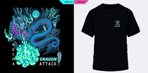 O ataque do dragão mecânico é adequado para camisetas e serigrafia de jaquetas