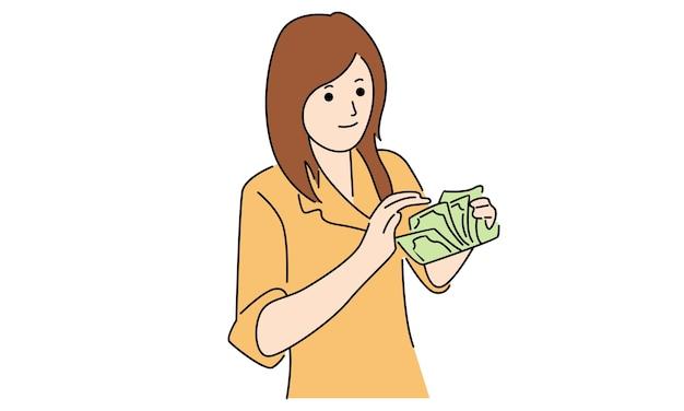 O atendimento ao cliente do banco está contando dinheiro