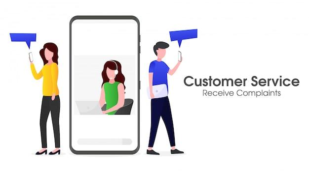 O atendimento ao cliente está recebendo reclamações de clientes via smartphone