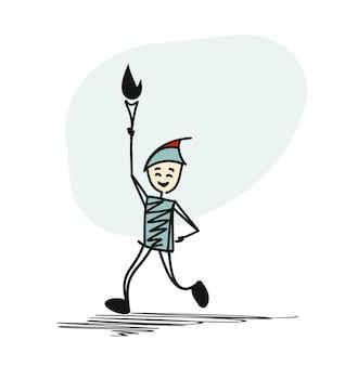 O atleta corre pela estrada. ele está segurando a tocha olímpica.