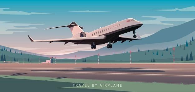 O avião decola do aeroporto de montanhas