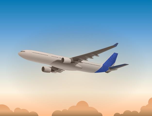 O avião que está voando quando o dia começa a escurecer e o céu começa a ficar vermelho