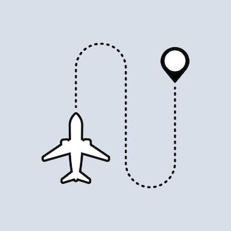 O avião voa ícone. ponteiro do mapa. conceito de viagem. vetor em fundo isolado. eps 10.