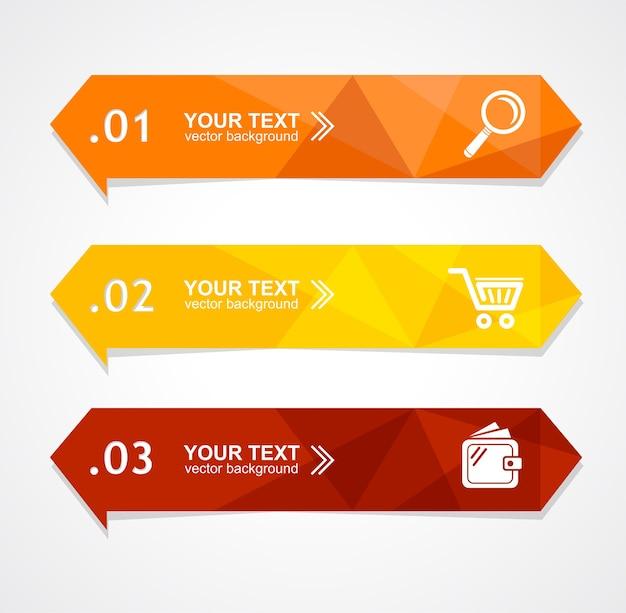 O banner de opção de triângulo de papel de ilustração pode ser usado para web design, brochuras