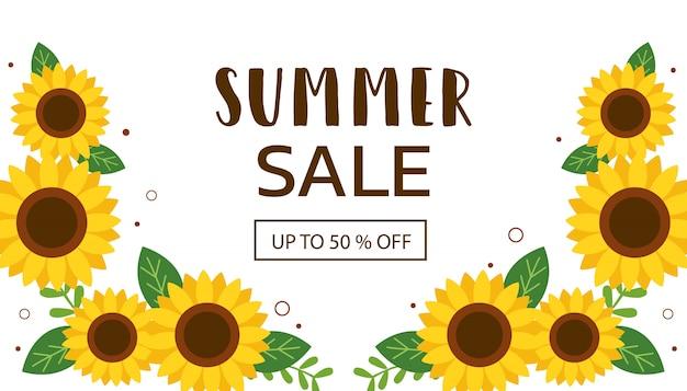 O banner de venda de verão com girassol