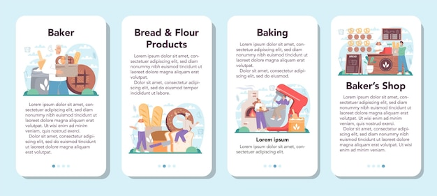 O banner do aplicativo móvel baker define o chef de uniforme fazendo pão