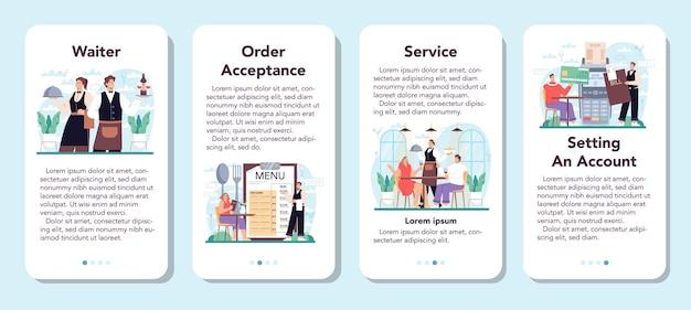 O banner do aplicativo móvel do garçom define a equipe do restaurante de uniforme