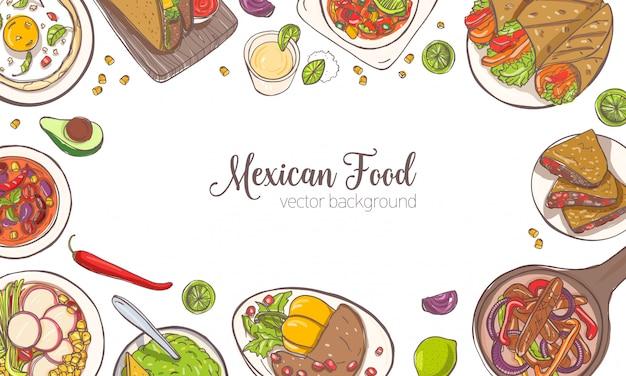 O banner horizontal ou fundo com moldura consistia em vários alimentos mexicanos, refeições e lugar para texto