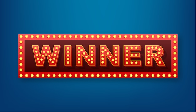 O banner retrô de vencedor com lâmpadas brilhantes. pôquer, cartas, roleta e loteria. ilustração das ações.