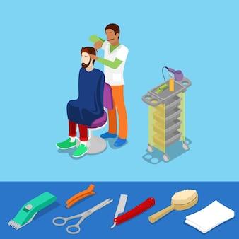 O barbeiro do salão de beleza do cabelo faz o conceito isométrico de penteado de homem. ilustração 3d plana vetorial