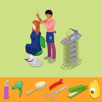 O barbeiro do salão de beleza do cabelo faz o conceito isométrico de penteado de menina. ilustração 3d plana vetorial