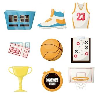 O basquetebol ostenta o equipamento da competição da bola da cesta da bola do jogo. campeonato profissional de atividade de times de lazer. cronômetro, avião de jogo de aro de taça de ouro de sapato de bilhete.