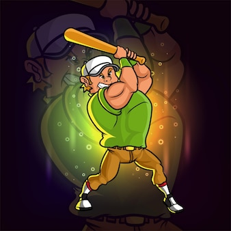 O batedor do jogador de beisebol está balançando o taco para o design do logotipo do esporte