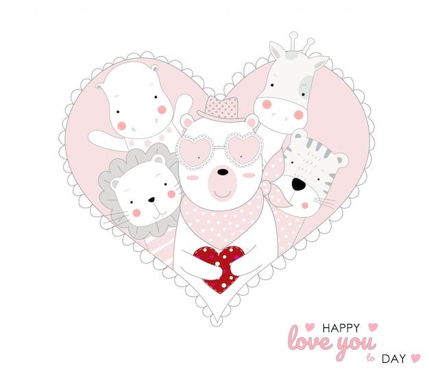 O bebê fofo urso personagem animal mão desenhada cartoon estilo