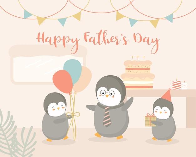O bebê pinguim oferece uma festa de dia dos pais em casa para o pai pinguim