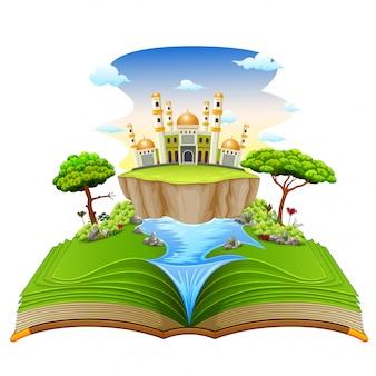O belo livro de histórias com a bonita mesquita e o rio