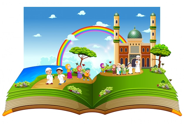 O belo livro de histórias com as crianças brincando perto da mesquita