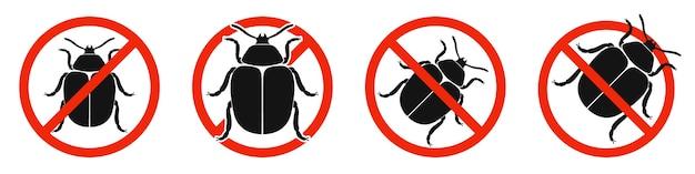 O besouro do colorado com sinal vermelho de proibição