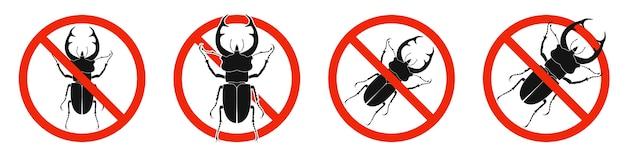 O besouro-veado com sinal vermelho de proibição isolado no branco