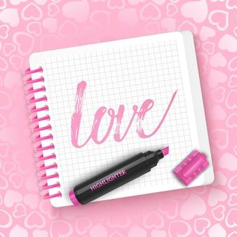 O bloco de notas com o amor de inscrição no dia dos namorados.