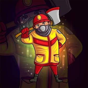 O bombeiro com o grande machado esport mascote com desenho de ilustração