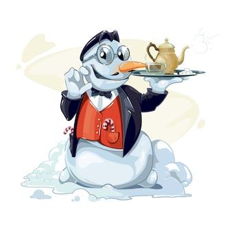 O boneco de neve segura na mão uma bandeja com um bule de chá