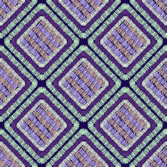 O bordado abstrato dá forma ao padrão geométrico sem emenda. ornamento de retalhos. a telha dá forma ao pano de fundo. ilustração em vetor desenhada à mão