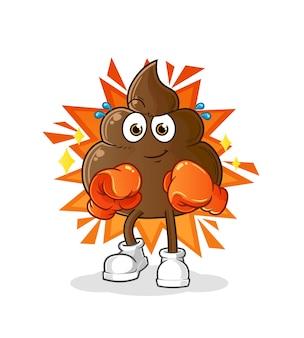 O boxeador de cocô. mascote dos desenhos animados